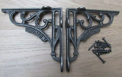"""6"""" PAIR OF PADSTOW cast iron ornate shelf support wall brackets"""