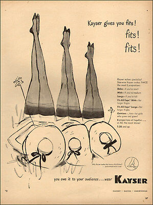 1947 vintage hosiery Ad KAYSER Stockings, Underthings, 3 pairs of legs 020518