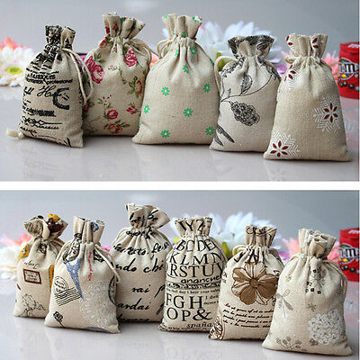 5/10X Small Burlap Jute Hessian Wedding Favor Gift Bag Drawstring Pouch Sack RU