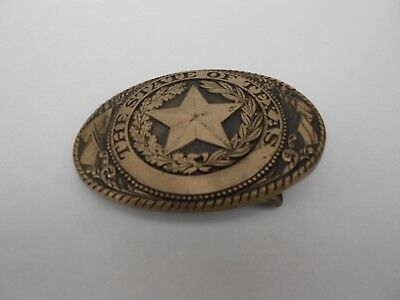 """Vintage Solid Brass State Of Texas Belt Buckle  Measures  3.75"""" x 2.75"""""""
