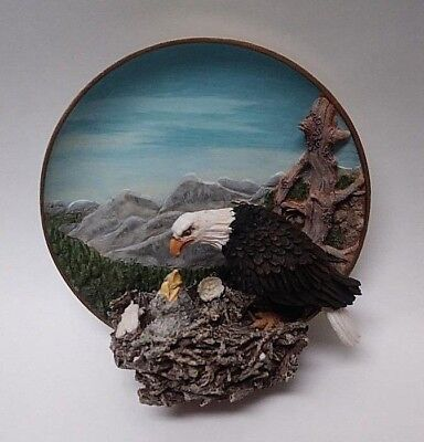 """Eagle plate """"The Gray Rock Collection"""" Mother Eagle feeding 2 chicks in nest"""