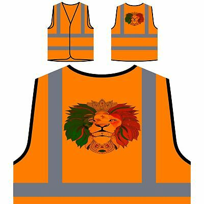 Lion Cannabis Rasta Yellow/Orange Safety Vest u489v