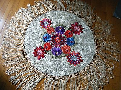 Antique 20s Matyo Hungarian silk Embroidered Round Tablecloth with long fringes