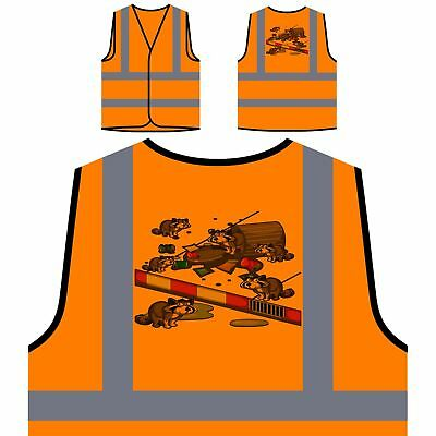 Raccoon Searching Trash Yellow/Orange Safety Vest p601v