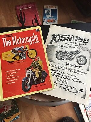 LOT OF 2 VINTAGE MOTORCYCLE AD AND BOOK ADVERTISING & ARTICLES 1950s