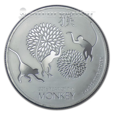2016 Niue $2 Year of the Monkey 1 oz .999 Silver Proof-like Coin in Capsule SALE