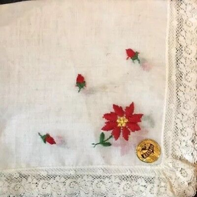 ANT CHRISTMAS HANDKERCHIEF~Swiss-made~Cotton Batiste Lace TrImmed w/label!