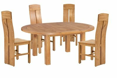 Trithi Furniture Doris American Solid Oak Oval Table Dining Set of 5