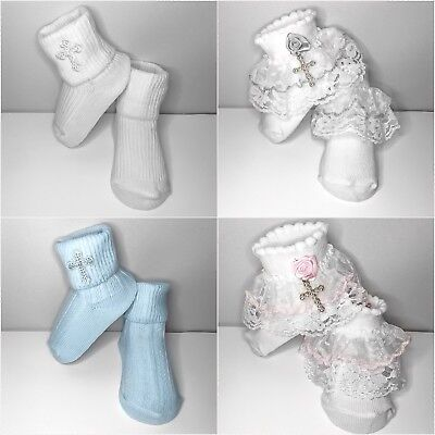 New baby lace christening baptism socks embroidered cross newborn -18mths white