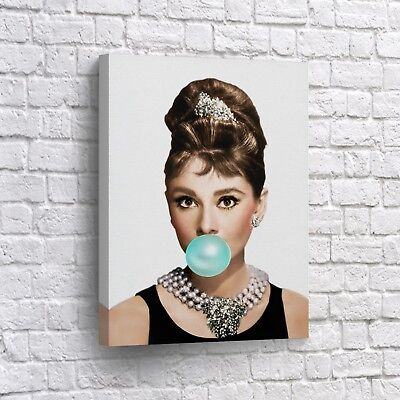 Audrey Hepburn Gum Canvas Print Home Decor Wall Art Pop Art Canvas B4W