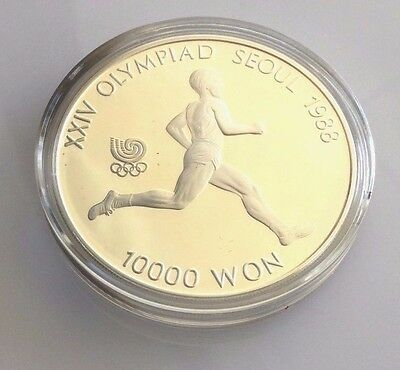 """1988 Olympic Seoul South Korea Silver Proof Coin 10000 Won  """"Running"""" KM56"""