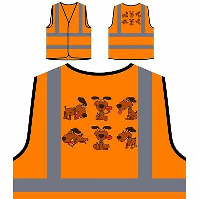 Happy Dog smile Funny Yellow/Orange Safety Vest p413v