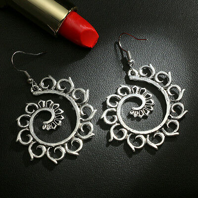 Dangle Earrings Ethnic Boho Silver Spiral Round Drop Carved Hippy Tribal Vintage