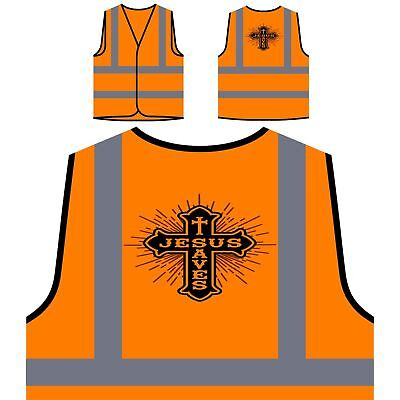 Jesus Saves The World Art Yellow/Orange Safety Vest z682v