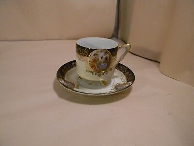 Vintage Royal Halsey Very Fine China Black 3 Footed Tea Cup & Saucer