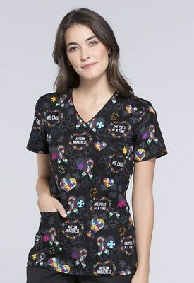 Cherokee Women's Mock Wrap Autism Awareness Print Scrub Top CK614-LVPC