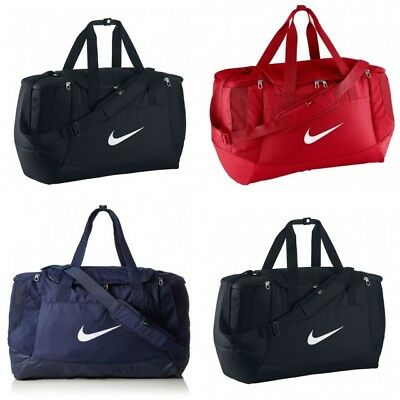 Nike Club Swoosh  Club Duffle Bag Sports Gym Duffel Medium Black / Red / Blue