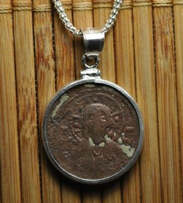 Authentic Eastern Roman Empire Byzantine Jesus Christ Coin 925 Sterling Necklace