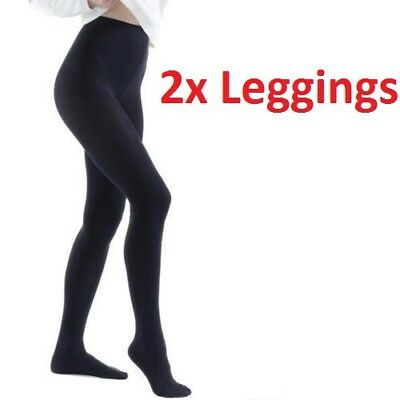 2xLadies Thermal Thick Winter Black Warm Stretchy Women Foot Tights & Small Size