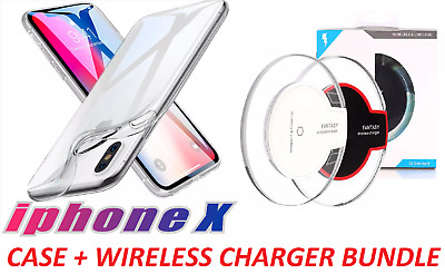 iPhone X Crystal Clear Case Cover With Wireless Qi Fast Charger Dock New Bundle