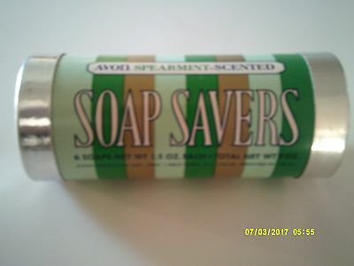 Vintage AVON SOAP SAVERS 6 Bars Spearmint Scented 1973 New Old Stock