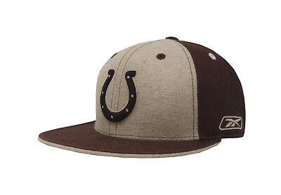 3053b1abe02 Reebok Cap NFL Indianapolis Colts Mens Womens Tan Brown Fitted Hat Headwear