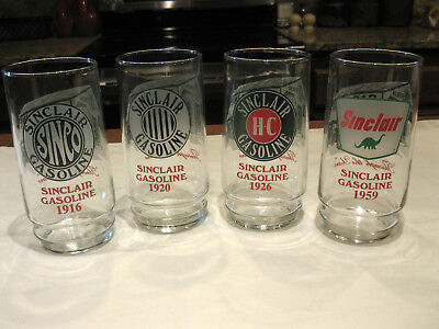 4 SINCLAIR GASOLINE ~Through the Years ~ Drinking Glasses 1916 1920 1926 1959