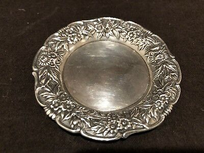 S Kirk & Son Repousse Sterling Silver Butter Pat Trinket Dish 17F