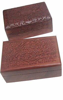 Wooden Hand Carved Inlaid Trinket Jewelry Boxes Set of 2 Pcs - New, Well packed.