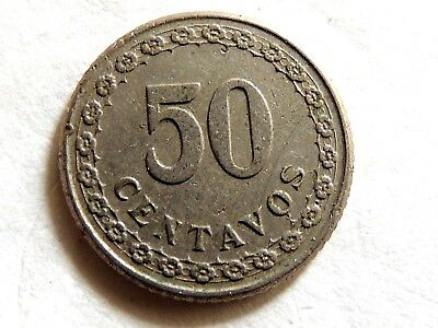 1925 Paraguay Fifty (50) Centavos Coin