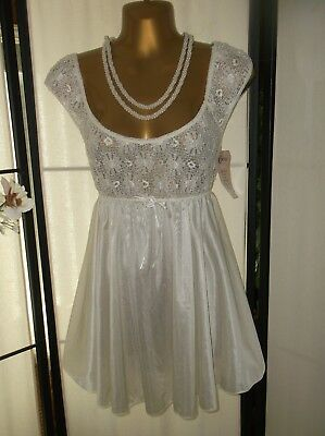 Vintage NWT cream babydoll nightgown Cinema Etoile M/L Medium/Large stretch lace