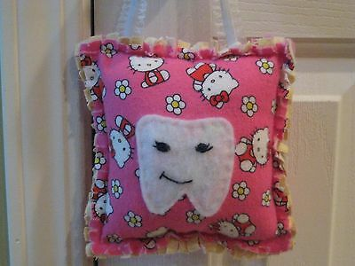 Hello Kitty Tooth Fairy Pillow -  Handcrafted -  Rag Quilt Tooth Fairy Pillow