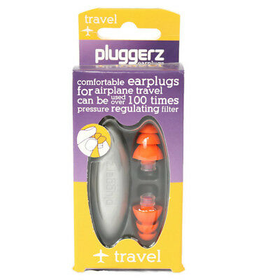 Pluggerz Travel Earplugs Uni-Fit Airplane Pressure Regulating Filter With Case