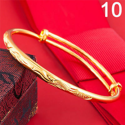 Womens  Shiny  Gold Plated  Patterned Adjustable Bangle  No-10,free Post In Oz.