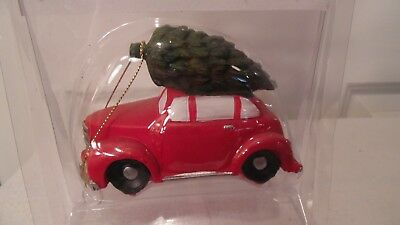 Christmas Village Accessory, Red Car With Christmas Tree Tied On The   Top