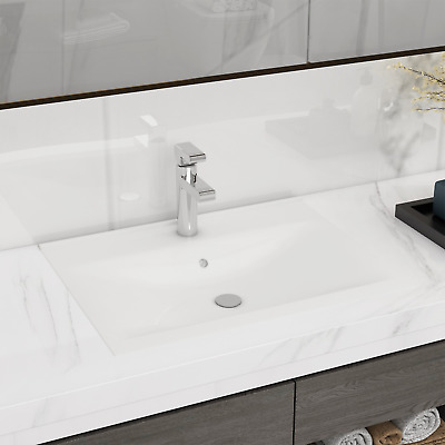 "vidaXL Ceramic Basin w/ Faucet Hole 23.6""x18.1"" White Bathroom Vessel Sink"