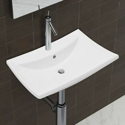 "vidaXL Ceramic Basin w/ Overflow&Faucet Hole 24""x17.3"" White Bathroom Sink"