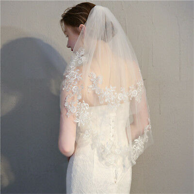 Luxury 2 Layer 2T White Elbow Lace Edge Wedding Bridal Veil With Comb