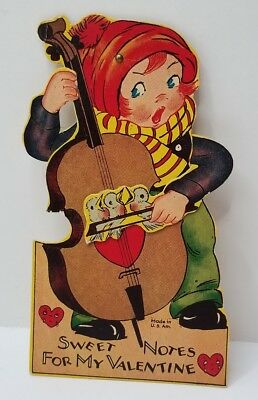 Vintage Mechanical Valentines Card Boy Playing Musical Instruments With Birds