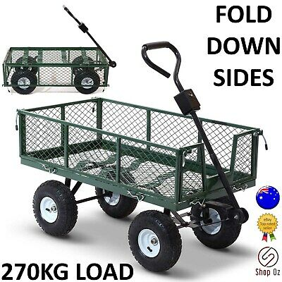 New GARDEN TROLLEY OUTDOOR CART TRAILER Wagon Wheelbarrow Dump Pull Yard Tipping