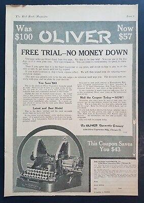 1920 Oliver Typewriter Company w Coupon Photo Vintage Print Ad