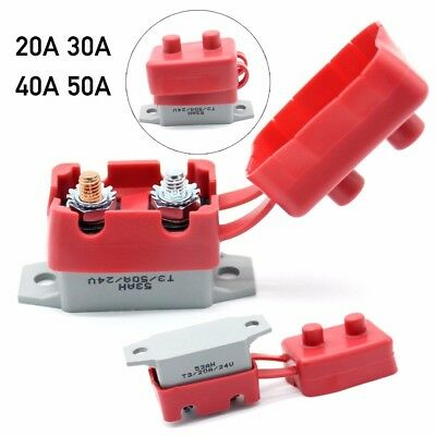 20A - 50A 12V Car Auto Automatic Fuse Reset Circuit Breaker w/ PVC Cover Protect