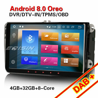 "Android 8.0 9"" Car Stereo GPS NAVI DAB+ DVR For Golf Eos Jetta VW Passat Touran"