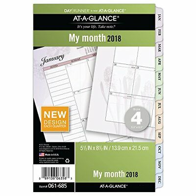 "AT-A-GLANCE Day Runner Monthly Planner Refill January 2018 December 5-1/2"" x 4"