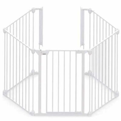 Noma 5-Panel Safety Gate Modular Metal White Baby Security Barrier Home 94047