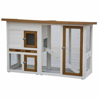 @Pet Rabbit Hutch Norma White and Brown Small Animal Cage House Garden 26011