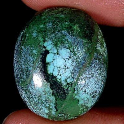 37.20Cts. 100% NATURAL UNTREATED TIBET TURQUOISE OVAL CABOCHON GORGEOUS GEMSTONE