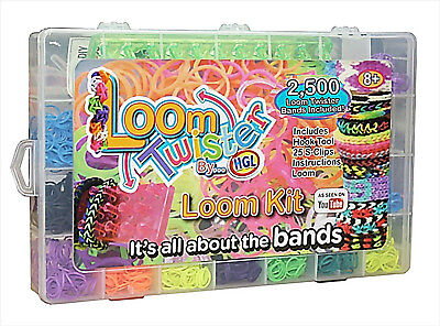 2500 Piece Multi Glitter Loom Rubber Bands Charms Bracelet MAKING DIY KIT BOX