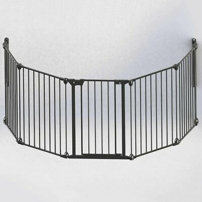 Noma 5-Panel Safety Gate Modular Metal Black Baby Security Barrier Home 94238