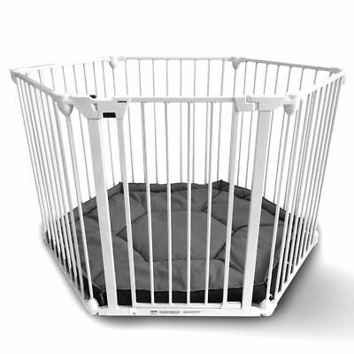 Noma 6-Panel Safety Gate/Playpen Modular Metal White Security Barrier 94023